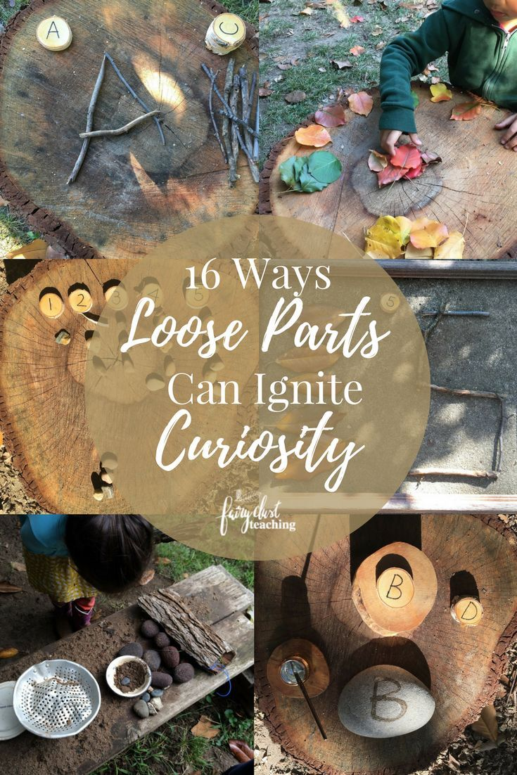 16 Ways Loose Parts Can Ignite Curiosity - Loose parts and authentic play experiences for children are two vitally important initiatives at Fairy Dust Teaching. Many administrators and supervisors question whether loose parts can meet any academic objectives. Today I want to share some inspiring invitations and provocations with loose parts that demonstrate the academic value of loose parts. #LooseParts #PlayIdeas #Provocations #ReggioInspiredActivities