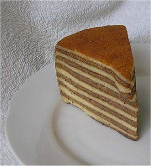 The famous 'spekkoek', thousant layer cake is often served after diner (rijsttafel) with tea or coffee