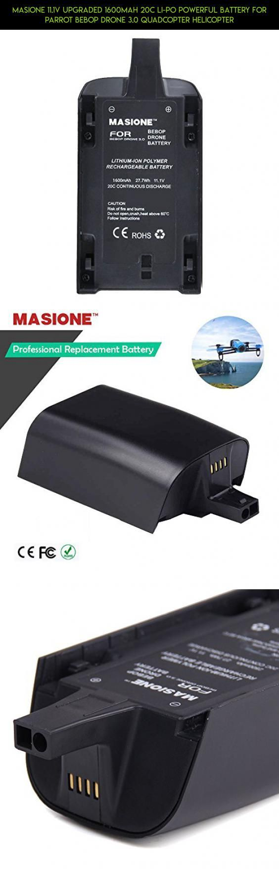 Masione 11.1V Upgraded 1600mah 20C Li-Po Powerful Battery for Parrot Bebop Drone 3.0 Quadcopter Helicopter #parrot #quad #kit #technology #shopping #plans #gadgets #helicopter #tech #fpv #camera #drone #racing #parts #products