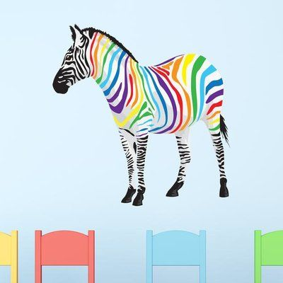 "Style and Apply Rainbow Zebra Wall Decal Size: 31"" H x 31"" W"