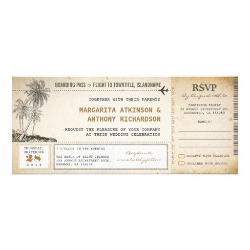 Beautiful vintage wedding ticket - boarding pass wedding invitations. Best for beach weddings and destination weddings in a tropical island.
