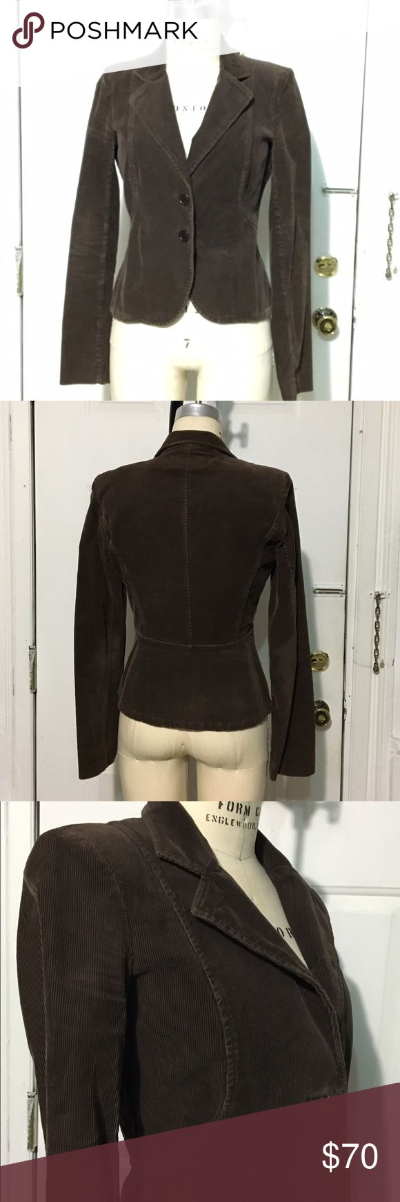 French Connection Chocolate Brown Corduroy Blazer Used. Chocolate Brown corduroy Blazer. Very good condition. Please view photos. Small shoulder pads, two front closure buttons. Peplum look from the back. Curved princess seams from the front. French Connection Jackets & Coats Blazers