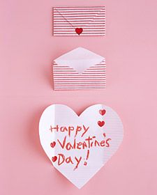 """Folding Hearts Valentine's Day Card - another free printable martha stewart """"how-to"""" project!"""