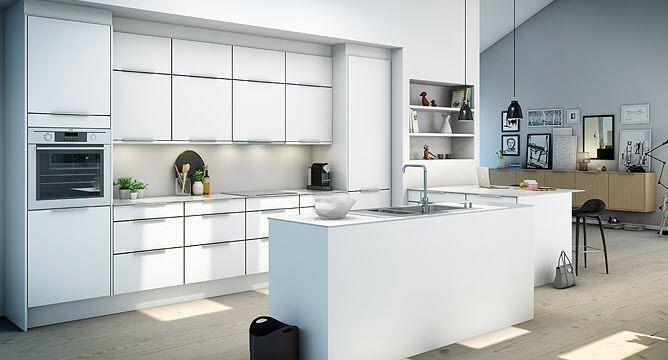 Modern White Kitchen Design With Kitchen Cabinet And Kitchen Island With Sink Beside Concrete Mini Bar Plus Wooden Laminate Flooring Ideas