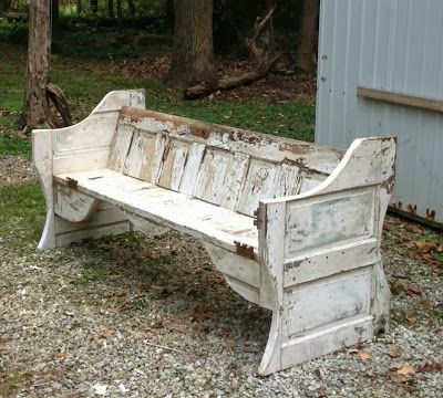 The Vintage Crates: A New Beginning-The Vintage Crates A Bench made out of 1940's doors! So cool!