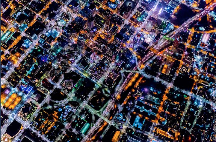 Vincent Laforet captures brilliant nighttime photos of Los Angeles that are shot from a helicopter.
