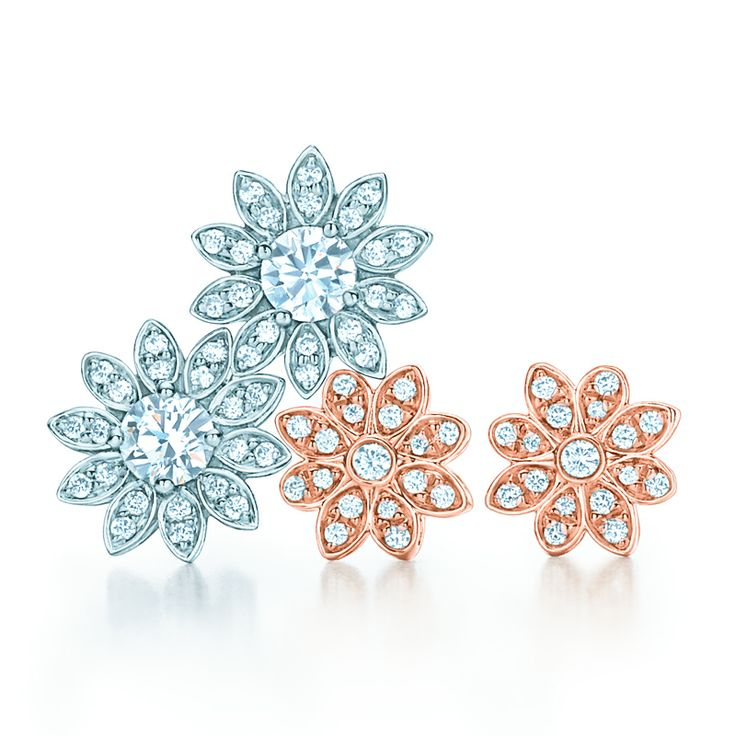 Tiffany Enchant® earrings with diamonds in platinum and 18k rose gold. #wedding #jewelry