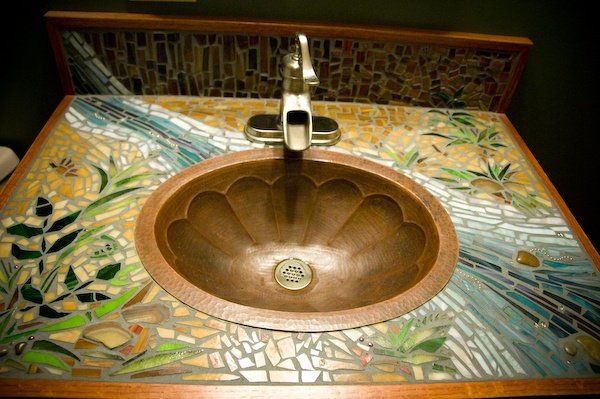 mosaic sink..copper sink bowl pump-like facet