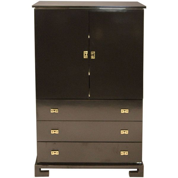 Black Lacquer Asian Cabinet with Brass Accents ($1,775) ❤ liked on Polyvore featuring home, furniture, storage & shelves, cabinets, linen storage cabinet, black lacquer cabinet, black storage cabinet, asian cabinet and linen cabinet