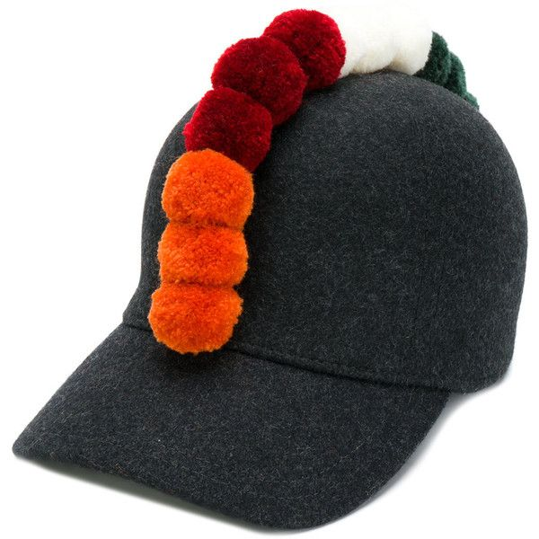 Comme Des Garçons Shirt pom-pom detailed hat ($230) ❤ liked on Polyvore featuring men's fashion, men's accessories, men's hats, grey, mens wool hats and mens pom pom hat