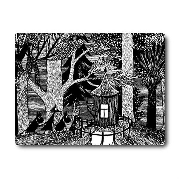 "If you like a rigid, thick tablemat the Cottage in the Wood tablemat is right for you. Backed with felt, it will stay in place on your table with minimal slipping and sliding. The Cottage in the Wood tablemat's black and white illustration is from Tove Jansson's book ""Moominsummer Madness"",..."