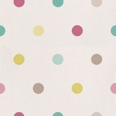 Pop UP (POP5859 6073) - Caselio Wallpapers - An off white fabric weave textured wallcoverings with coloured polka dots in pink, brown, lime and teal greens. A super washable wallcovering with a vinyl coating. Please ask for sample for true colour match.