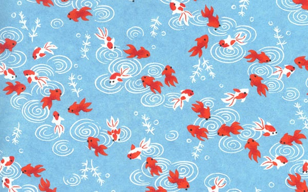 Yuzen Japanese Paper Washi Koi Chiyogami Pattern