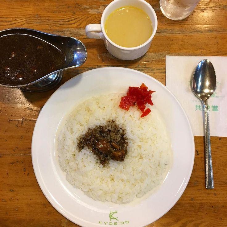 ポークカレー この季節熱々のポタージュスープで体の芯から温まるのがいいね #共栄堂 #スマトラカレー #カレー #curry #神保町