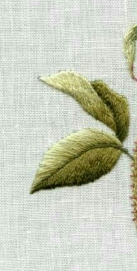 Hand embroidery leave shading long and short stitch