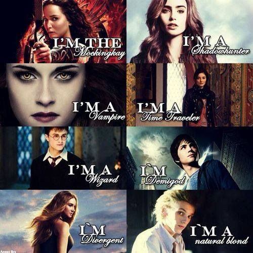 Harry potter, The mortal instruments ,Percy Jackson ,The hunger games, Twilight, Divergent