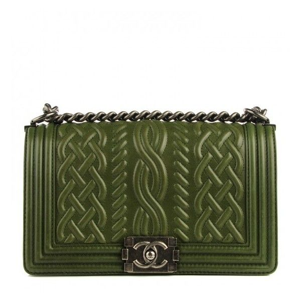 CHANEL Lambskin Medium Celtic Boy Flap Green ❤ liked on Polyvore featuring bags, handbags, shoulder handbags, chanel purses, quilted handbags, cocktail purse and special occasion handbags