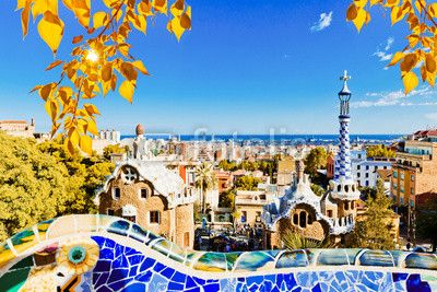 Fototapet park guell i barcelona, spanien. - arkitekt • PIXERS.se