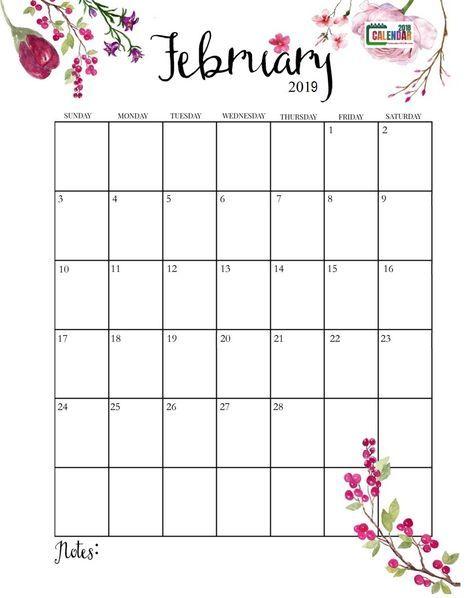 Cute February 2019 Calendar Calendars Calendario Mensal
