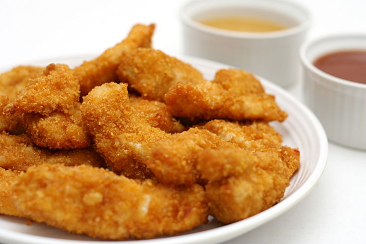 corn flakes for the breading of chicken strips = yummy!  Always used corn flakes as the breading.. its result is yummy homemade chicken strips!