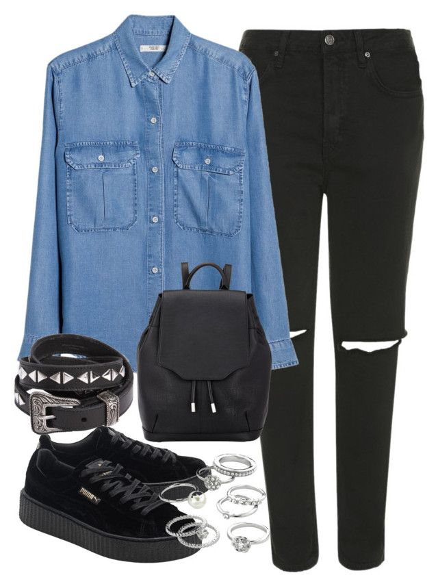 """outfit for a denim shirt and puma creepers"" by ferned ❤ liked on Polyvore featuring Topshop, MANGO, Puma, Yves Saint Laurent, rag & bone and Candie's"