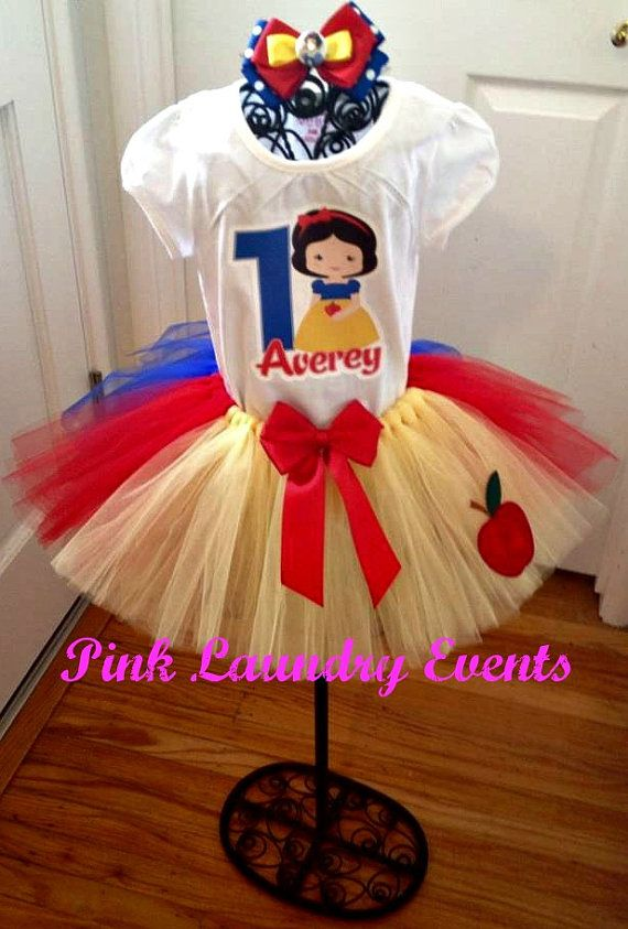 Snow White Inspired Tutu Outfit includes Tutu,Onesie or Tshirt,and Hairbow Great for Birthday Party Outfit on Etsy, $49.99
