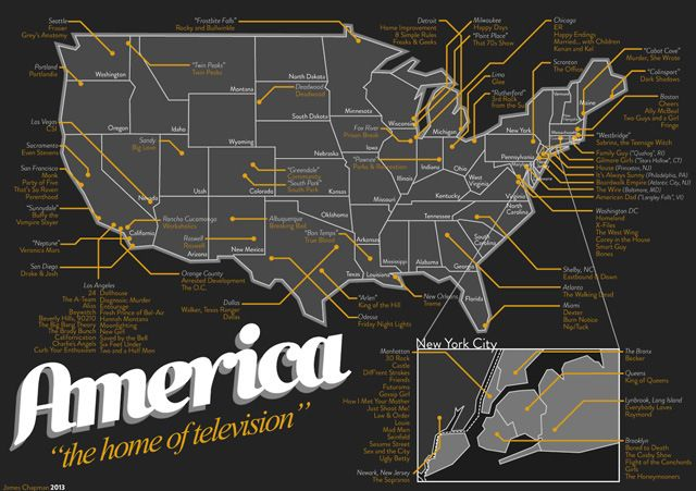 A Map Of Television Show Locations In America The Very Home And Graphic Design