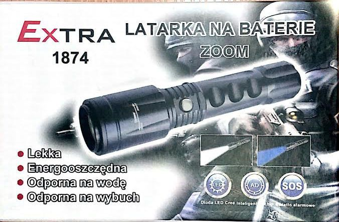 New led flashlight xml-t6 energy saving water resistant 2 diodes