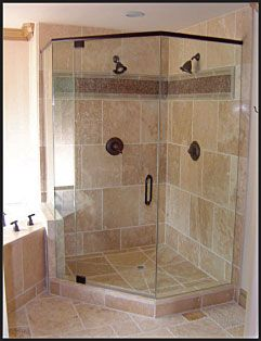 Corner Shower Stall With Tile And Glass.