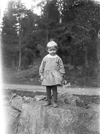 Former president of Finland Urho Kaleva Kekkonen, about three years old on the beach of his childhood home in Pielavesi.