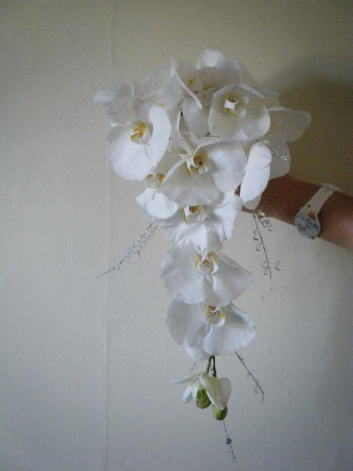 White Orchid & crystal Bridal Bouquet by Paperwhites Bespoke floral Design