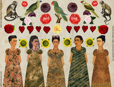 Viva Frida! Enjoy honoring this amazing artist by putting together these colorful paper dolls. She comes complete with festive hearts, flowers,