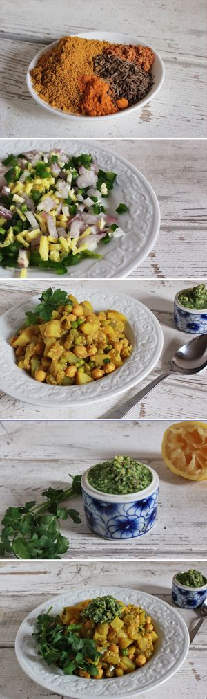 Potato & Chickpea Masala - an easy weeknight vegetarian dinner from www.biggirlssmallkitchen.com #comfortfoodfeast