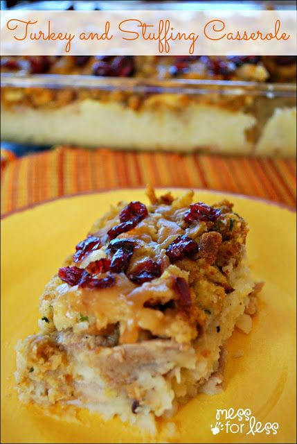 Thanksgiving Dinner Casserole - This turkey and stuffing casserole combines your favorite Thanksgiving flavors in an easy dish. #QuickFixCasseroles #sponsored