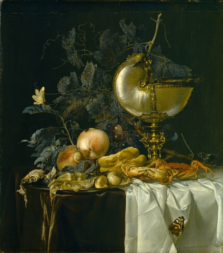 Willem van Aelst (1627-1683) — Still Life with a Nautilus Cup,  1661  :  The Staatliches   Museum,  Schwerin.  Germany  (2238×2538)