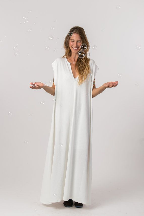 Oversized White Dress Loose Fit Dress Maxi by Hagarkedmifashion