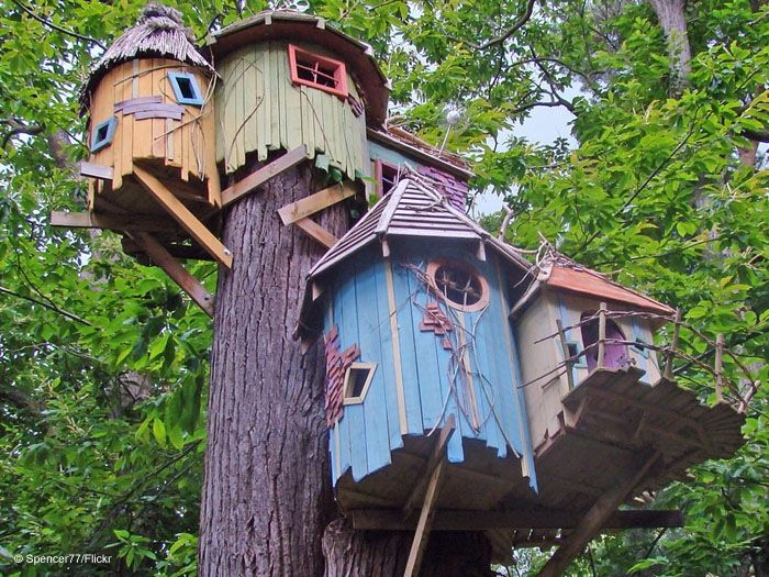 Treehouses at the BeWILDerwood Treehouse Adventure park in Norfolk, England