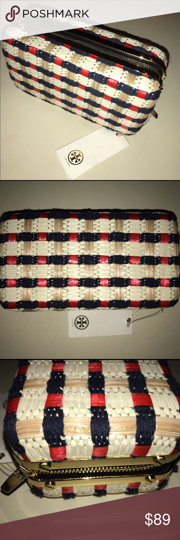 """Tory Burch Daisy Straw Nautical Clutch Purse Bag New With Tags ~ Originally $325 ~ Tory Burch Daisy Straw clutch ~ Nautical, summery woven textile and straw, red navy blue and cream ~ Hard, Box like with zip around ~ Unused but blue material s a little """"fuzzy"""" from handling in store, hardware with very minor abrasion Tory Burch Bags Clutches & Wristlets"""