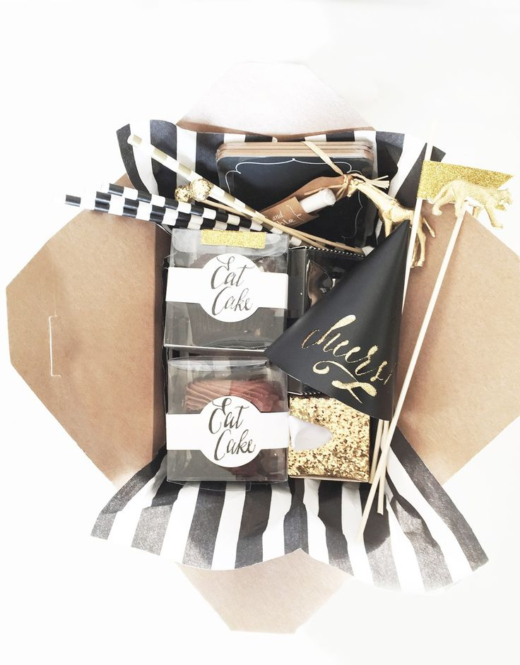 """Give your guests a """"New Years in a box"""" so everyone has the proper celebratory items when the clock strikes midnight!  #somethinggoldweddings"""