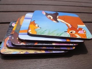 My favourite craft project, old coasters given a new lease of life with children's Bambi book pages