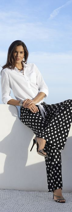 MODELO DE MUJER - A. IMAGEN - Chico's Knit Kit Dots Palazzo