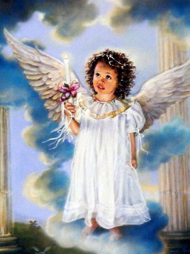 "This Sandra Kuck Print shows a girl angel with a candle Image Size 12"" x 16"""