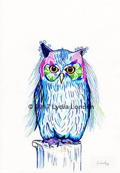 Patterned Owl Letter Size Digital Print by LydiaLondonArtCanada