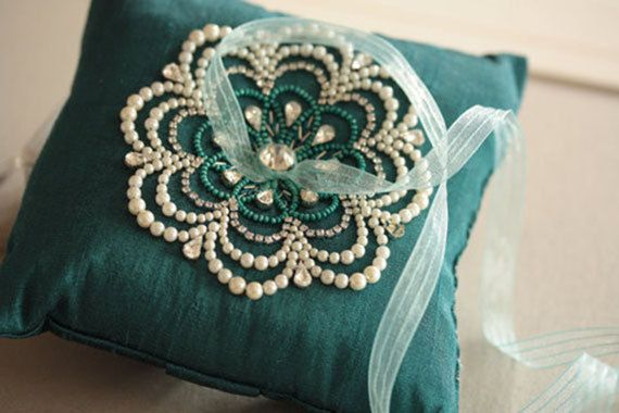 Wedding Ring Pillow  NU Teal Made to Order by EnrichbyMillie, $110.00