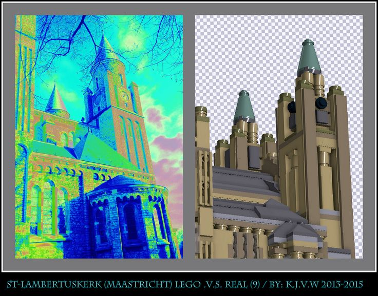 [ st-lambertuskerk lego .v.s. real part 9 ]  9 of the 19 photo's from my collage of St-Lambertuskerk (Maastricht) ((Non-lego))