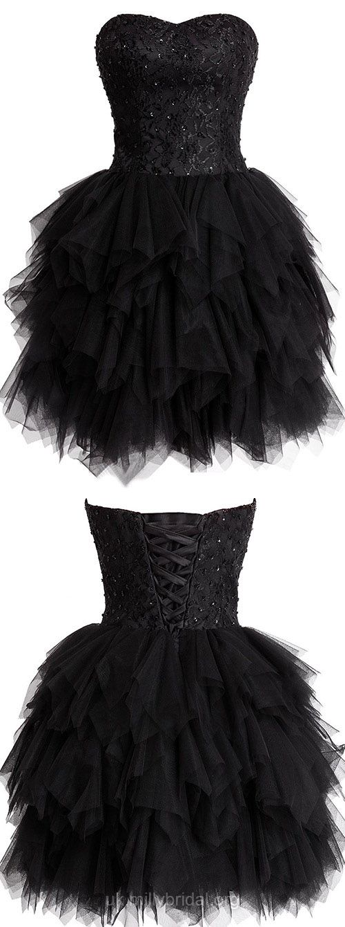 Black Prom Dresses Short, Lace Cocktail Dresses Sweetheart,  Sexy Homecoming Dresses Cheap, 2018 Party Dresses For Teens