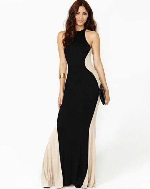 Classy Halter Black White Striped Party Evening Maxi Dresses
