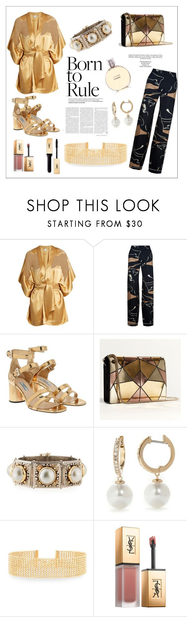 """""""ONLY GOLD ( Born to Rule)"""" by artanna ❤ liked on Polyvore featuring Carine Gilson, Valentino, Prada, Karen Millen, Industrie, Konstantino, Kate Spade, Lydell NYC and Yves Saint Laurent"""