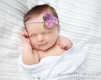 Gold and Gray Felt Flower Headband  Felt Baby Headband Baby