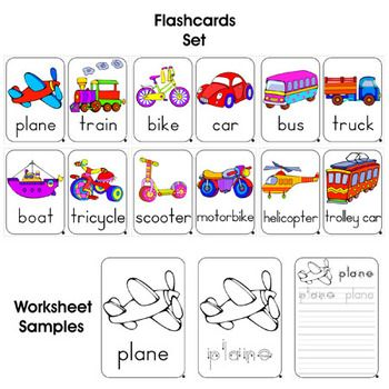 Quality transport flashcards (12 pieces) and worksheets (36 pieces) in .pdf format!